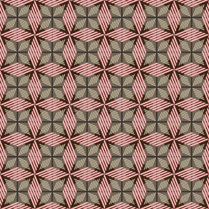 与镶边菱形的桃红色,棕色和灰色几何无缝的样式 向量例证