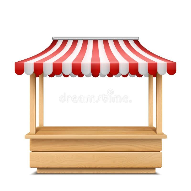 与镶边遮篷的传染媒介空的市场摊位 向量例证