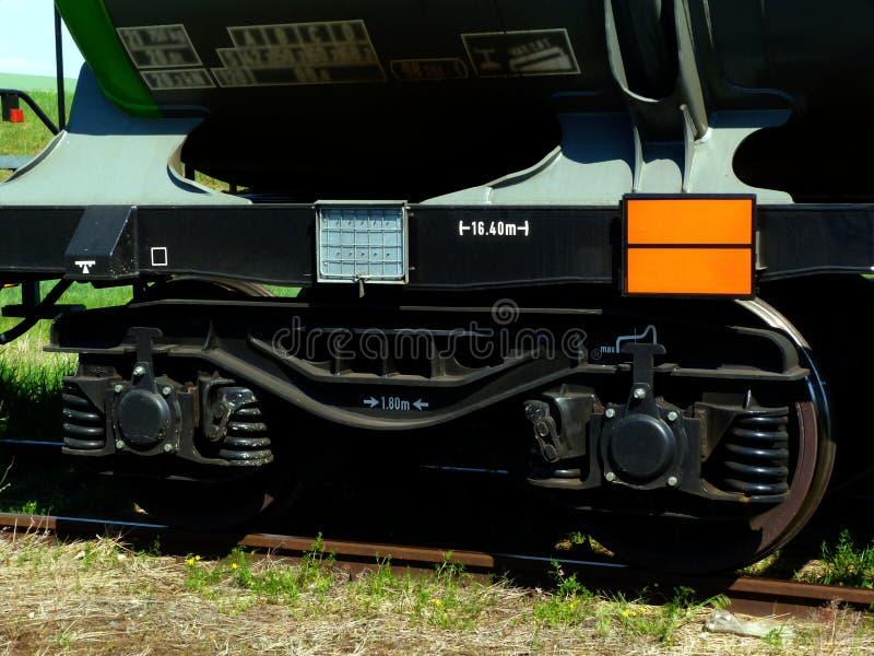 与长得太大的钢路轨的火车钢轮子特写镜头 图库摄影