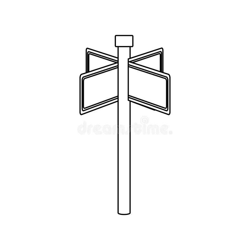 与长方形形状的单色等高与金属多向尖 库存例证