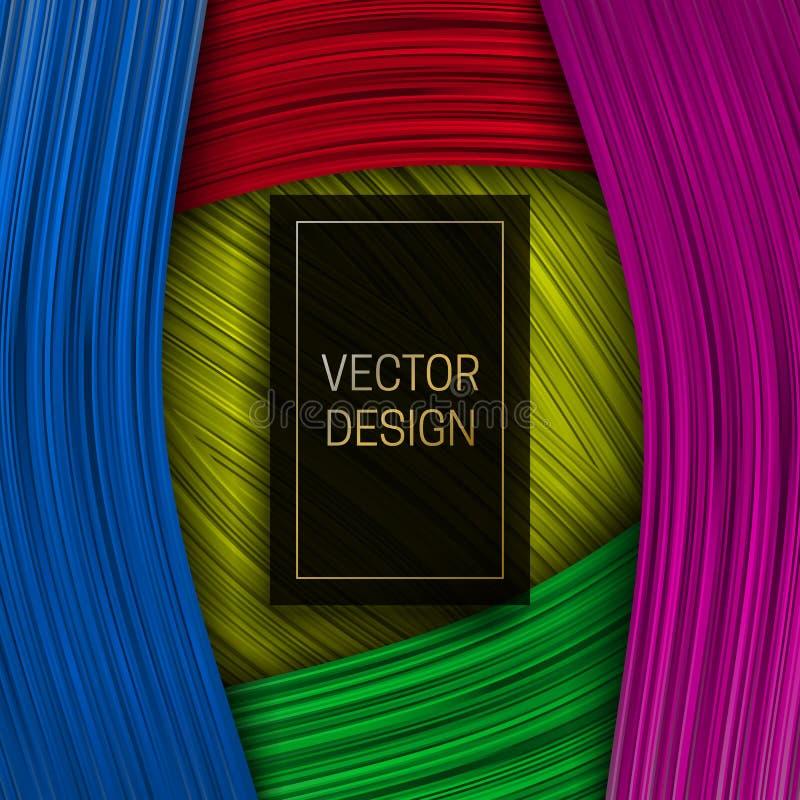 与长方形黑色和金框架的五颜六色的丝带背景的文本 时髦成套设计或盖子模板 皇族释放例证