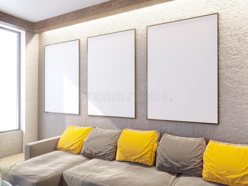 与长沙发和枕头,咖啡桌,嘲笑的当代客厅内部, 3D翻译 皇族释放例证