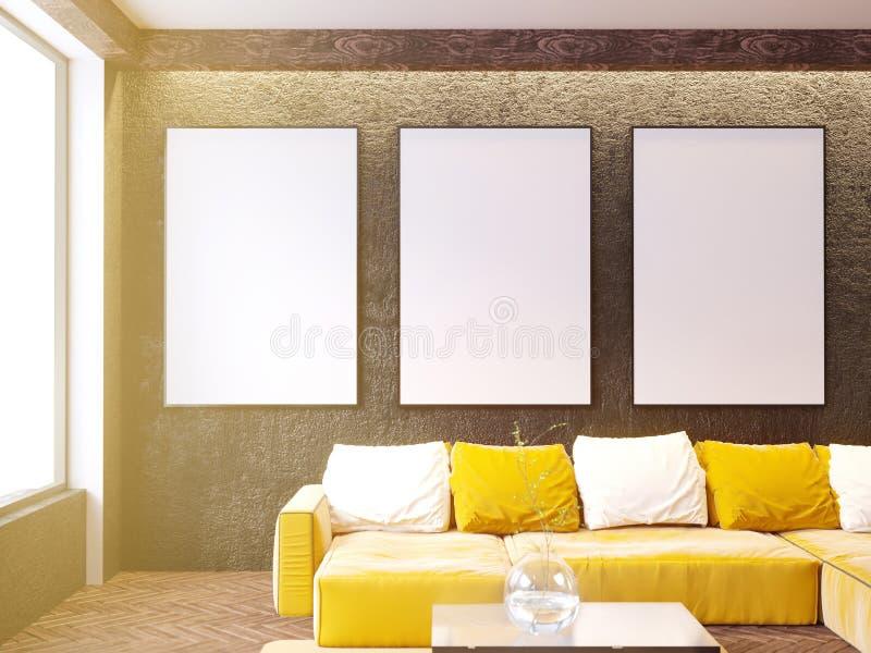 与长沙发和枕头,咖啡桌,嘲笑的当代客厅内部, 3D翻译 向量例证