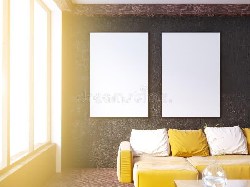 与长沙发和枕头,咖啡桌,嘲笑的当代客厅内部, 3D翻译 库存例证
