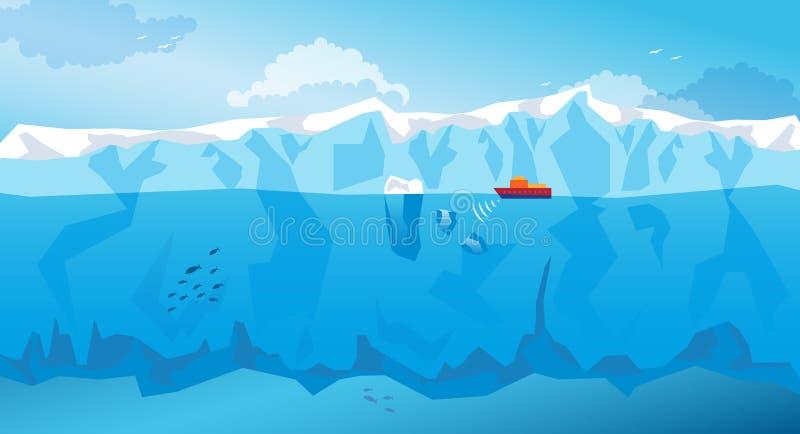 与长的冰山和船的背景 向量 皇族释放例证