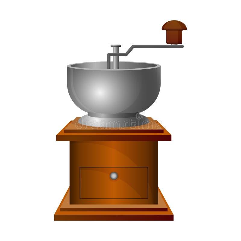 与长的把柄的老磨咖啡器在木立场 向量例证