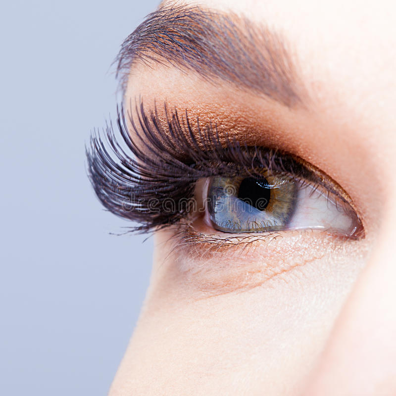 与长的睫毛的女性眼睛 免版税库存照片