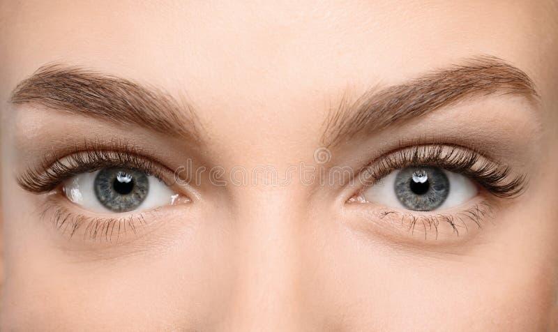 与长的睫毛的美丽的女性眼睛,.