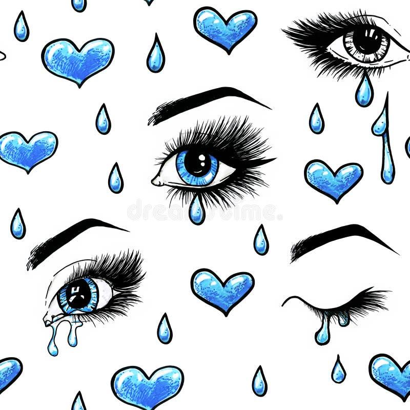 与长的睫毛的美丽的开放女性蓝眼睛在白色背景被隔绝 设计的无缝的模式 向量例证