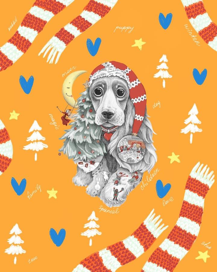 与长的耳朵的狗在帽子和围巾 向量例证