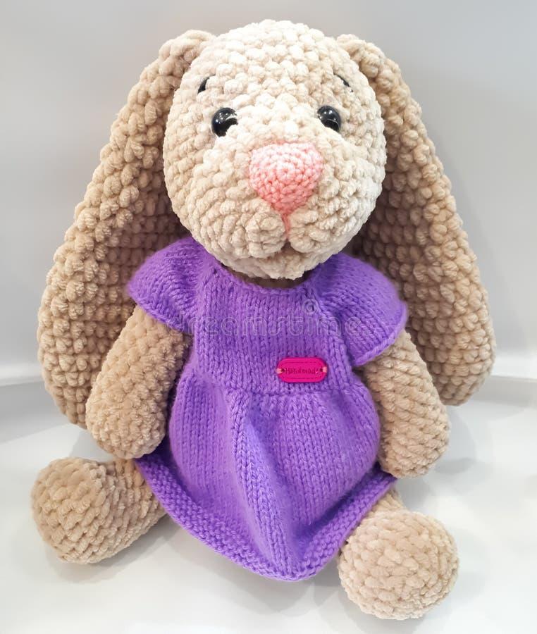 与长的耳朵的野兔,在礼服的野兔,淡紫色,棕色,编织,手工 免版税库存图片