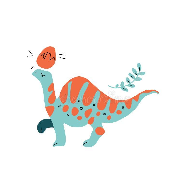 与长的脖子和橙色条纹平的手拉的动画片例证的绿色恐龙 导航斯堪的纳维亚样式slipart  皇族释放例证