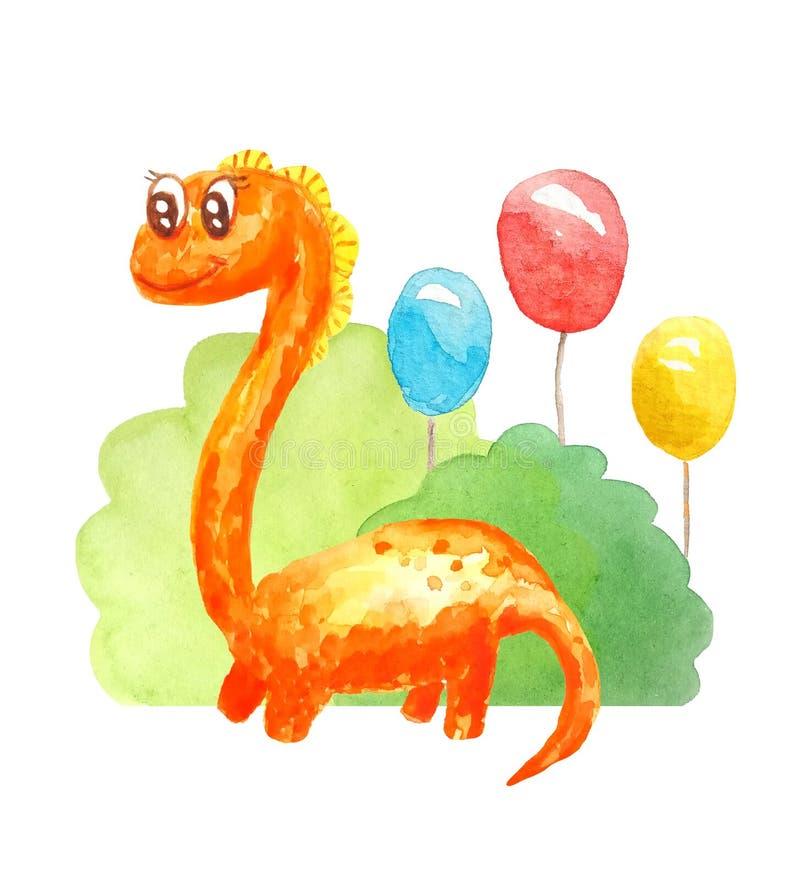 与长的脖子的水彩橙色亲切的动画片恐龙在三个胶凝体球背景祝贺,邀请,微笑  皇族释放例证