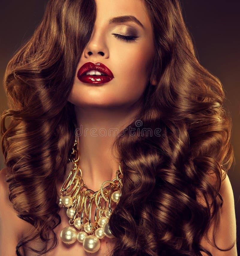 与长的褐色的美好的女孩模型卷曲了头发 库存图片