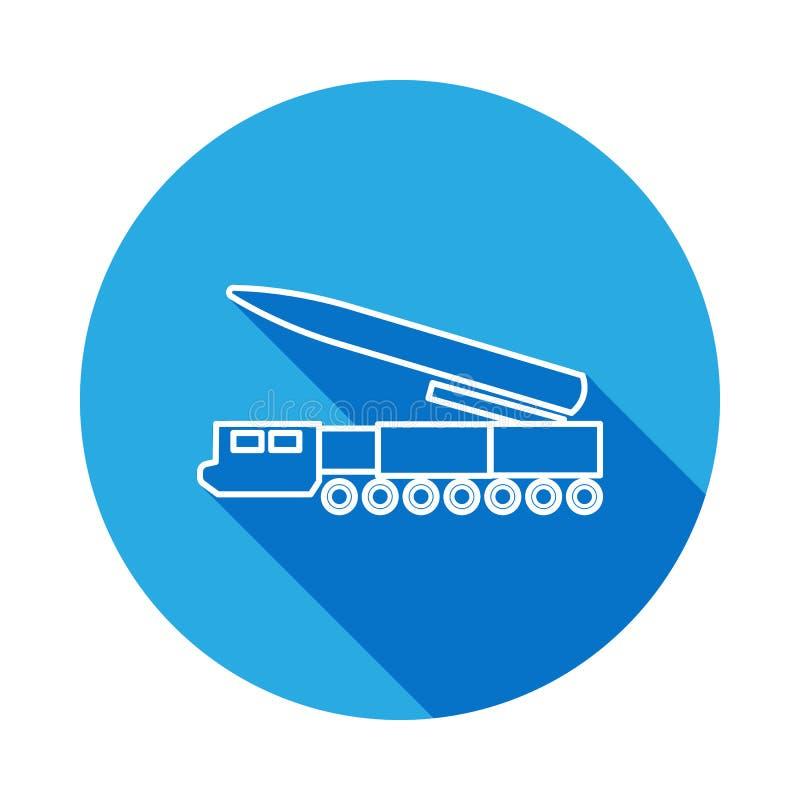 与长的阴影的导弹系统线象 军事例证的元素 标志和标志概述网站的象,网desi 库存例证