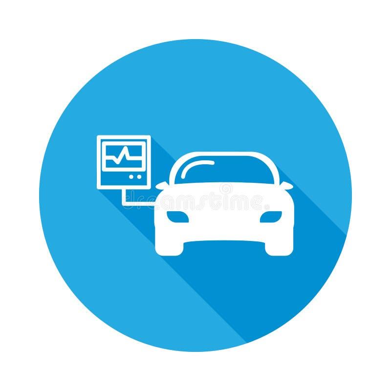 与长的阴影的汽车诊断平的象 汽车修理服务例证的元素 优质质量图形设计象 标志 库存例证