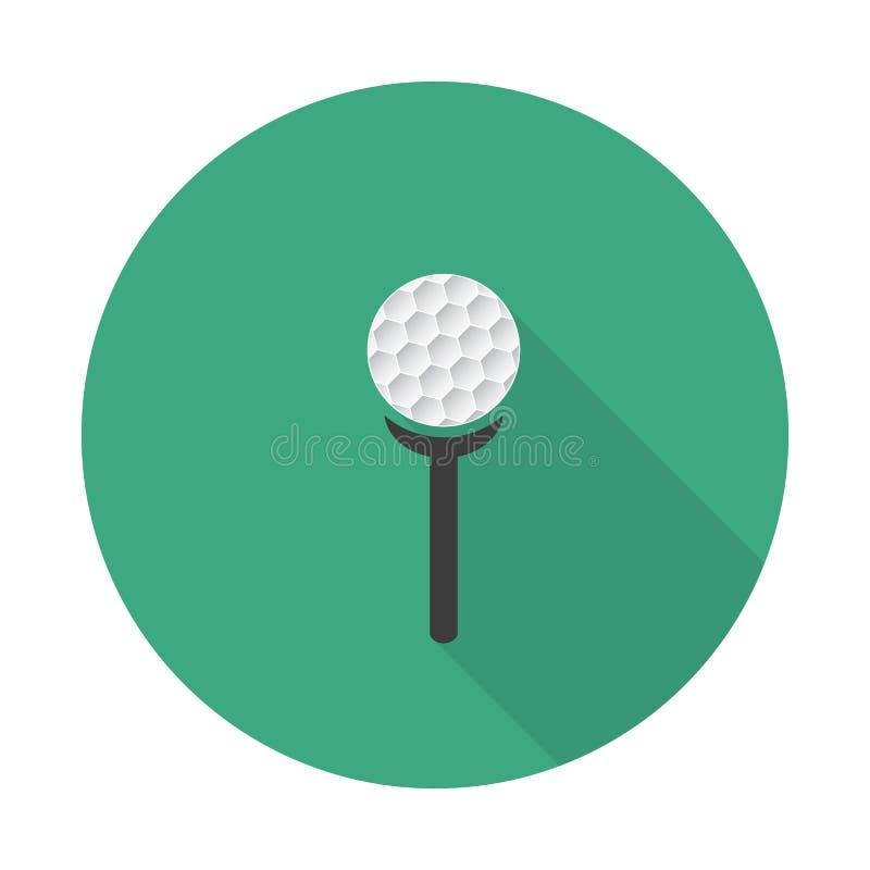 与长的阴影,高尔夫球字符的平的高尔夫球象 白色高尔夫球和发球区域在绿色背景 库存例证