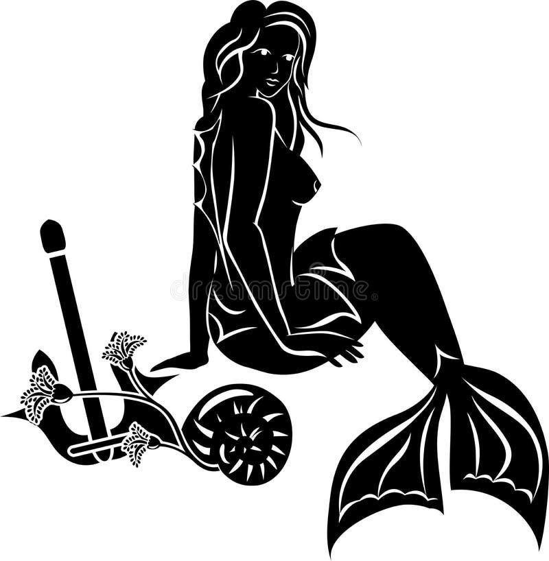 与长的头发的坐的美人鱼 库存例证