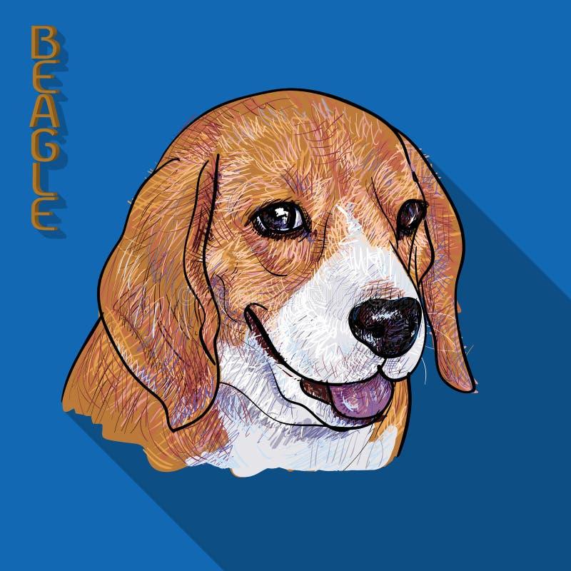 与长的阴影的小猎犬画象 库存例证