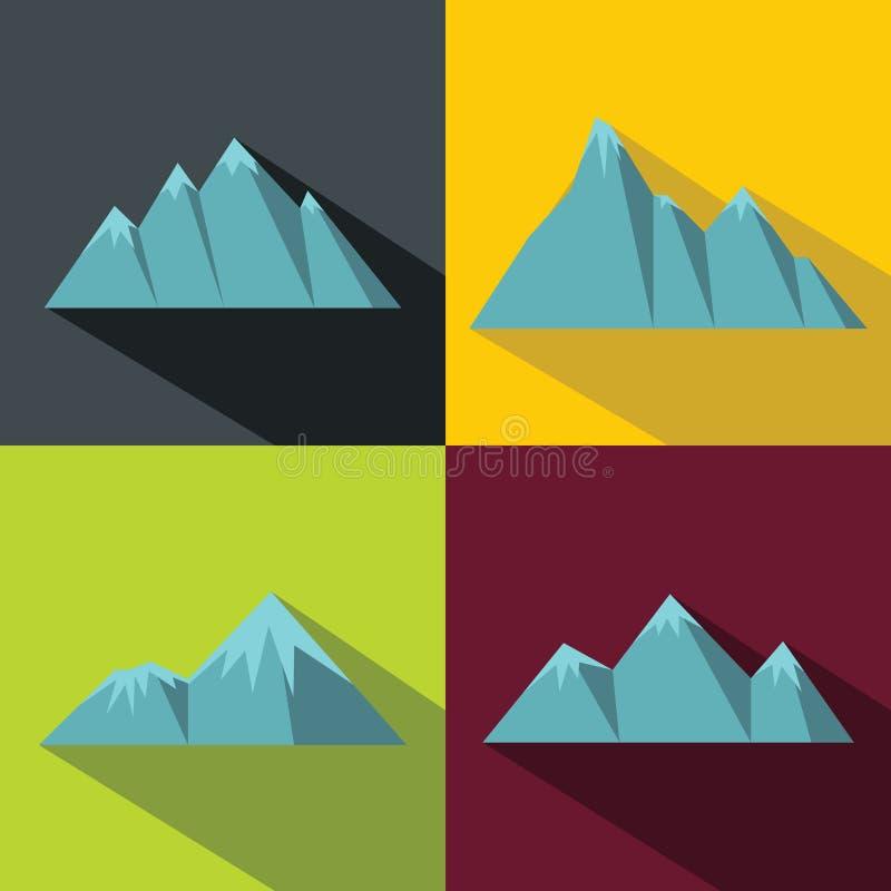 与长的阴影的山蓝色象在颜色背景 库存例证