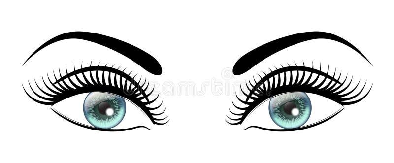 与长的黑色的美丽的开放蓝眼睛抨击特别女性神色 向量例证