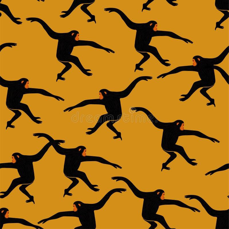 与长臂猿猴子的无缝的样式 向量例证