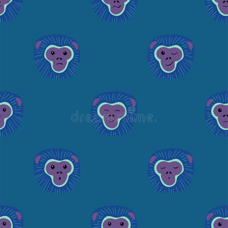 与长臂猿猴子面孔的无缝的样式 向量例证
