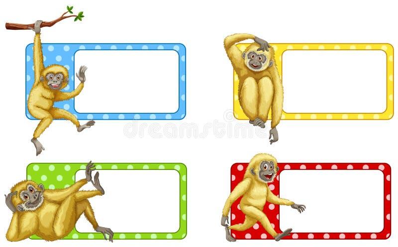 与长臂猿的标签设计 库存例证