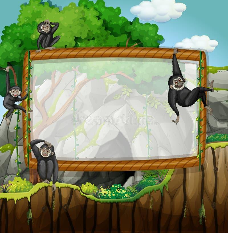 与长臂猿的框架设计在洞 向量例证