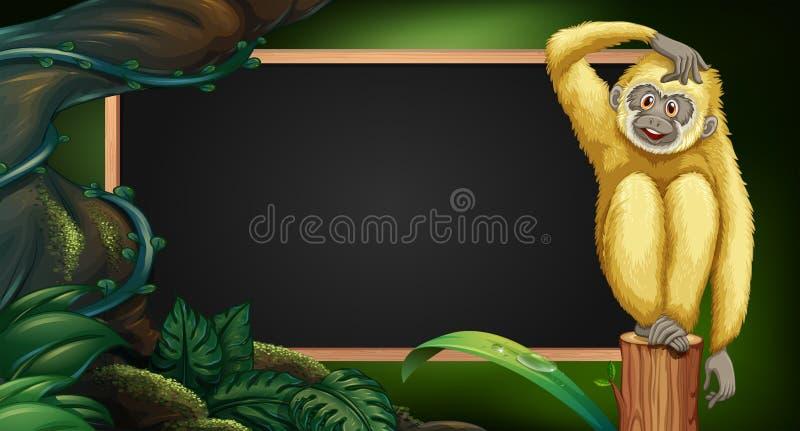 与长臂猿的边界模板在木头 皇族释放例证