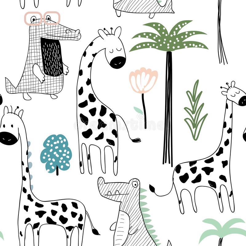 与长颈鹿、鳄鱼和热带元素的幼稚密林纹理 无缝的模式 也corel凹道例证向量 库存例证