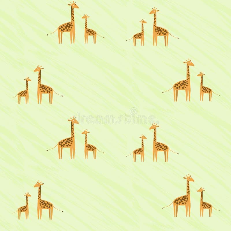 与长颈鹿家庭的逗人喜爱的孩子样式 看彼此的小长颈鹿和他的母亲 向量例证