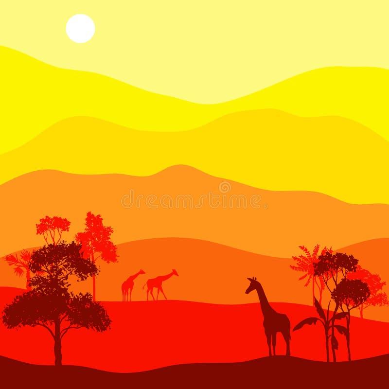 与长颈鹿的传染媒介风景 向量例证