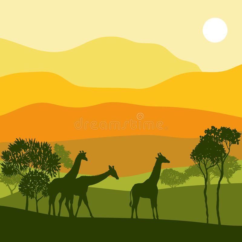 与长颈鹿的传染媒介风景 皇族释放例证
