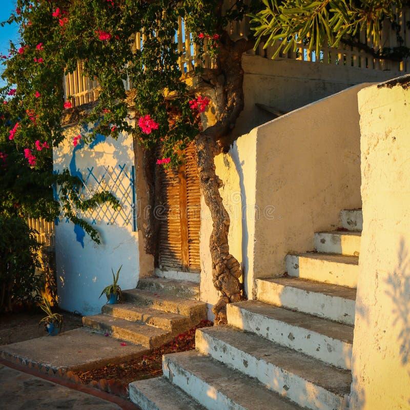 与门的希腊楼梯 免版税库存照片