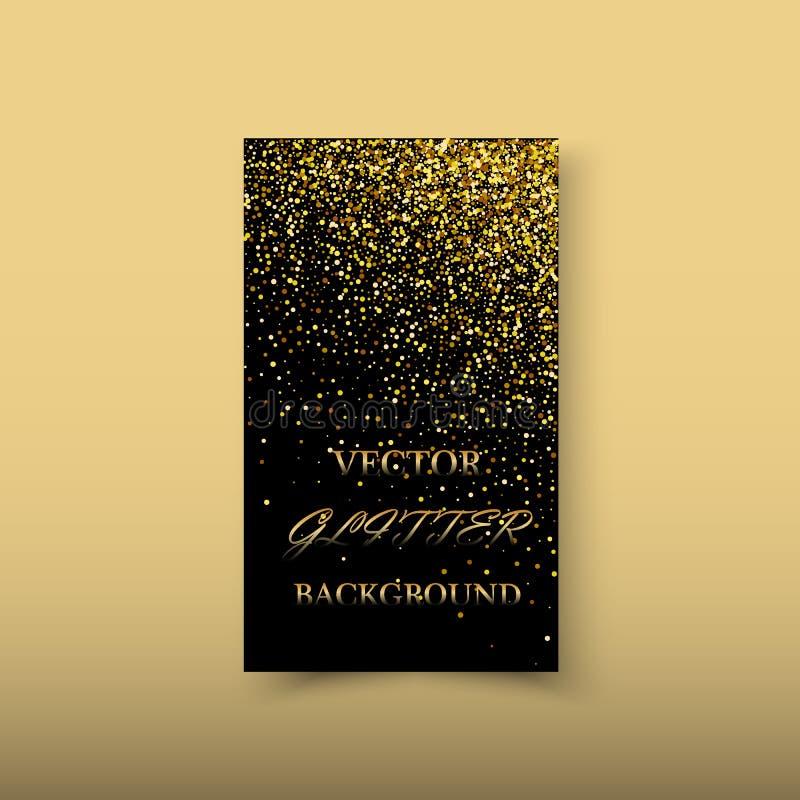 与闪烁作用的传染媒介摘要发光的颜色金波浪设计元素对黑暗的背景 向量例证