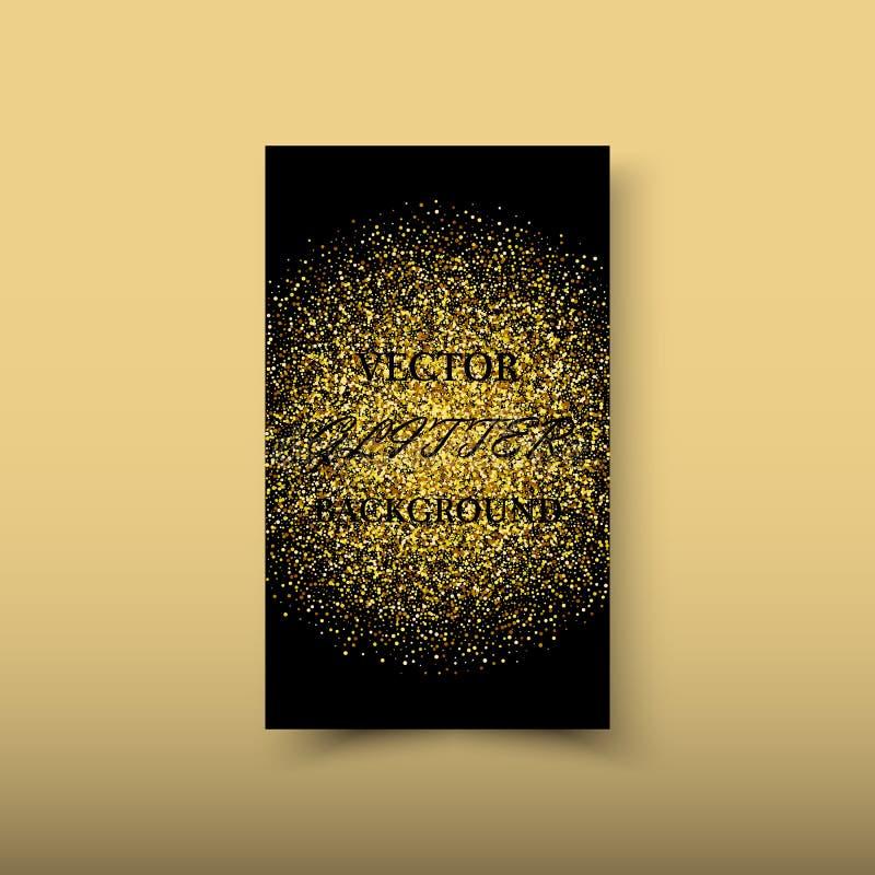 与闪烁作用的传染媒介摘要发光的颜色金波浪设计元素对黑暗的背景 库存例证
