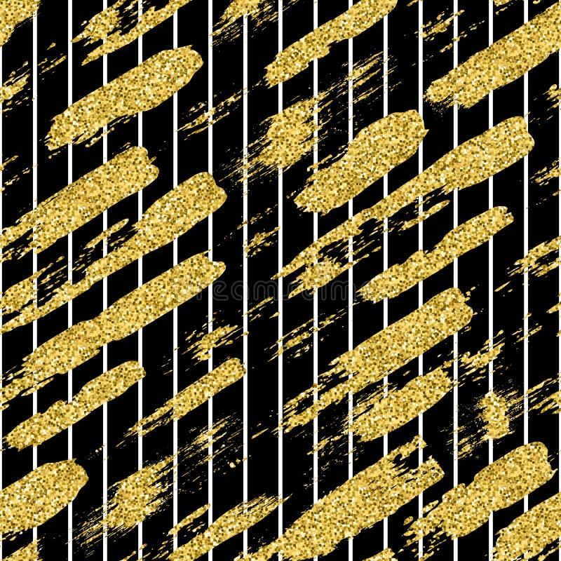 与闪烁刷子条纹和冲程的现代无缝的样式 在黑背景的金黄,白色颜色 手画 免版税库存照片