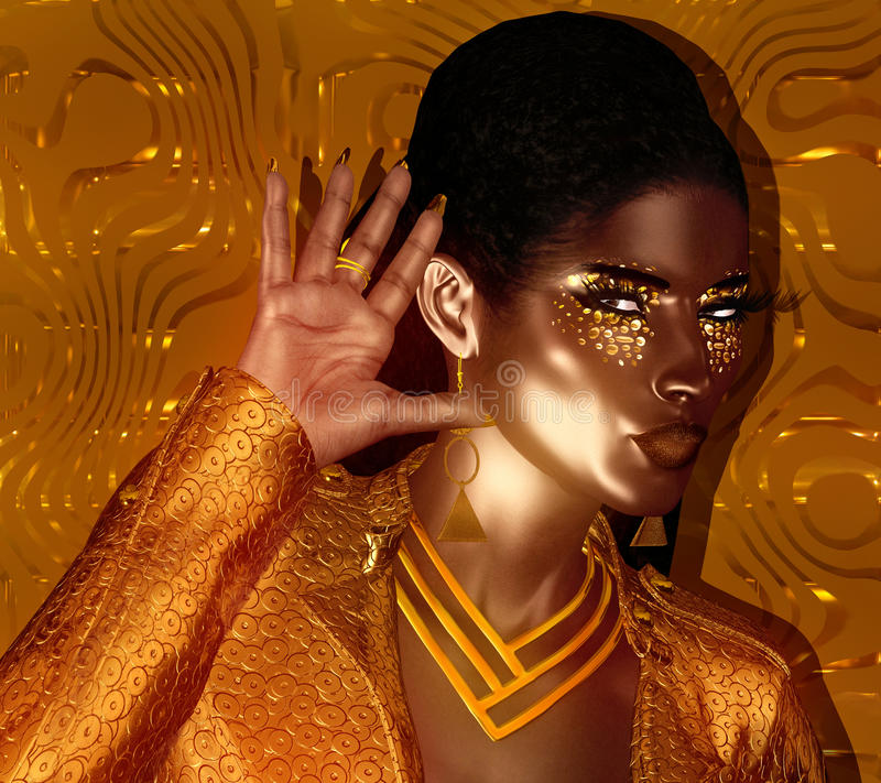 与闪烁化妆用品和黑背景的非裔美国人的时尚秀丽 向量例证