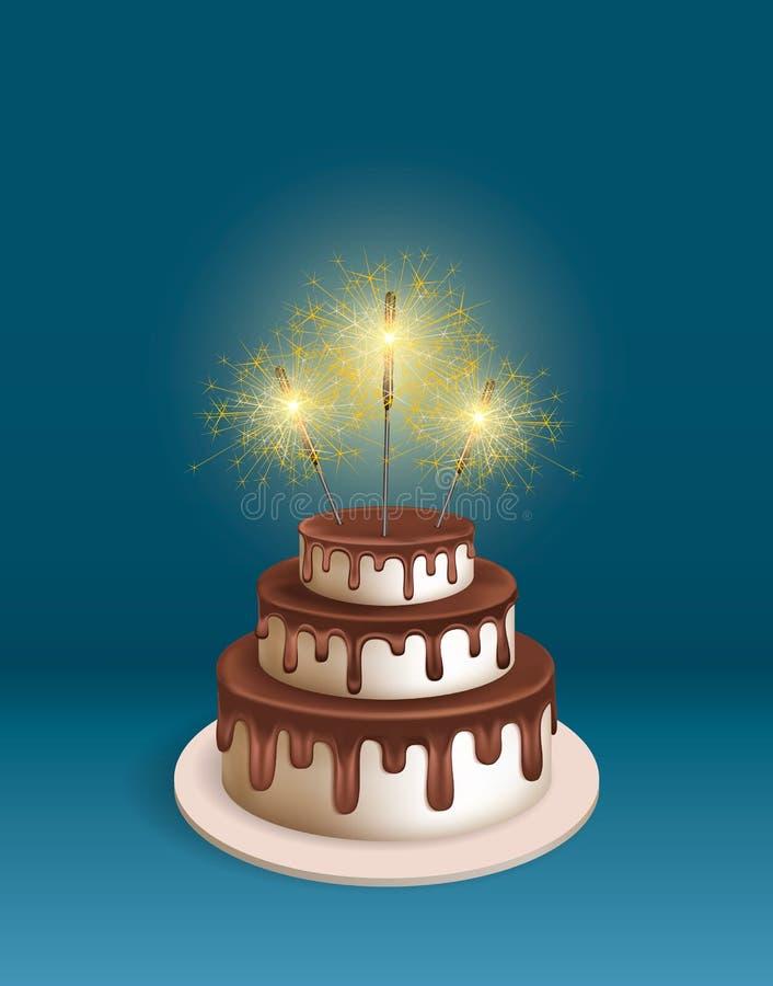 与闪烁发光物的生日现实3d蛋糕 库存例证