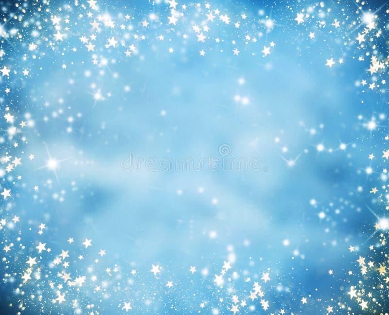 与闪烁星的抽象圣诞节背景 库存例证