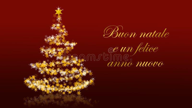 与闪烁的星的圣诞树在红色背景,意大利语晒干问候 皇族释放例证