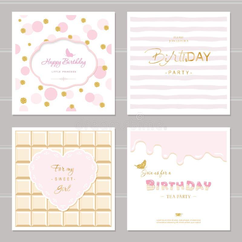 与闪烁的逗人喜爱的卡片设计女孩的 生日聚会邀请 包括的圆点、巧克力和镶边无缝的样式 皇族释放例证
