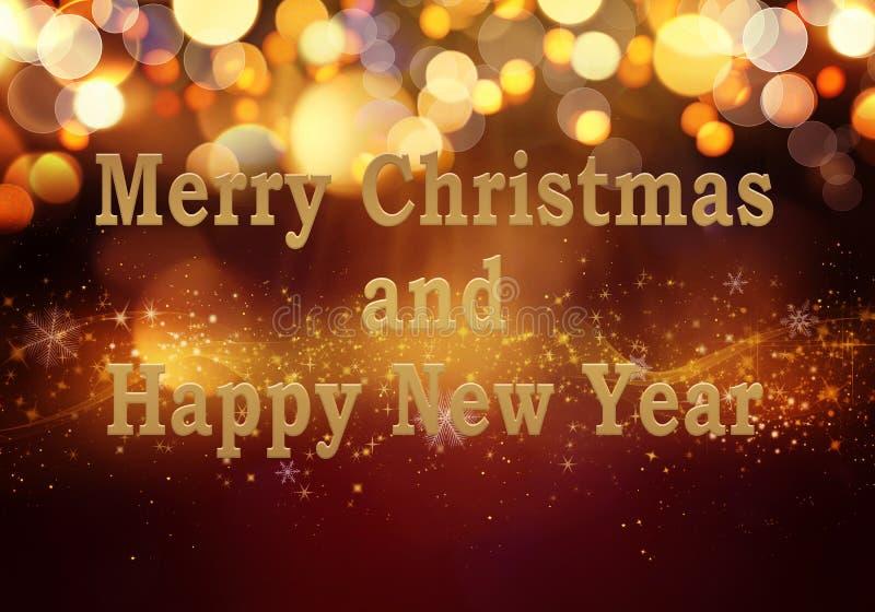 与闪烁的金黄红色圣诞节或新年背景,雪花,星,bokeh在欢乐梯度背景的金光 免版税库存照片