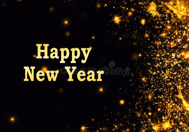 与闪烁的金黄黑圣诞节或新年背景,雪花,星,bokeh金光,欢乐黑暗的样式背景 免版税库存照片