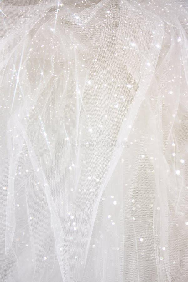与闪烁覆盖物的葡萄酒薄纱薄绸的纹理背景 新娘概念礼服婚姻纵向的台阶 免版税库存图片