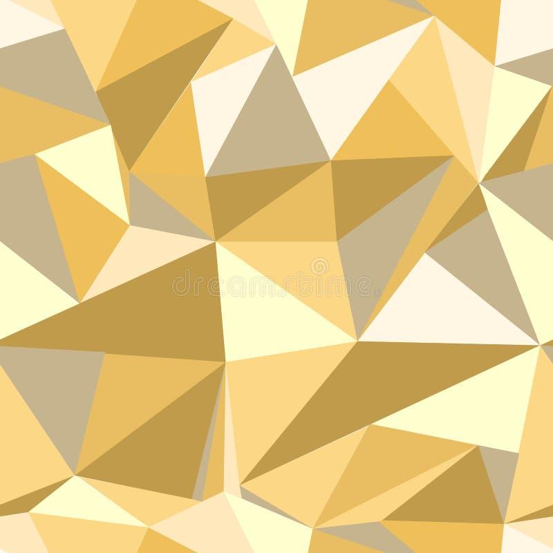 与闪烁金三角的无缝的样式 抽象背景马赛克 几何例证 黄色背景 库存例证