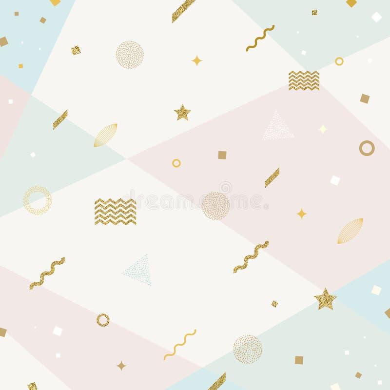 与闪烁金子几何形状的抽象先驱背景 库存例证