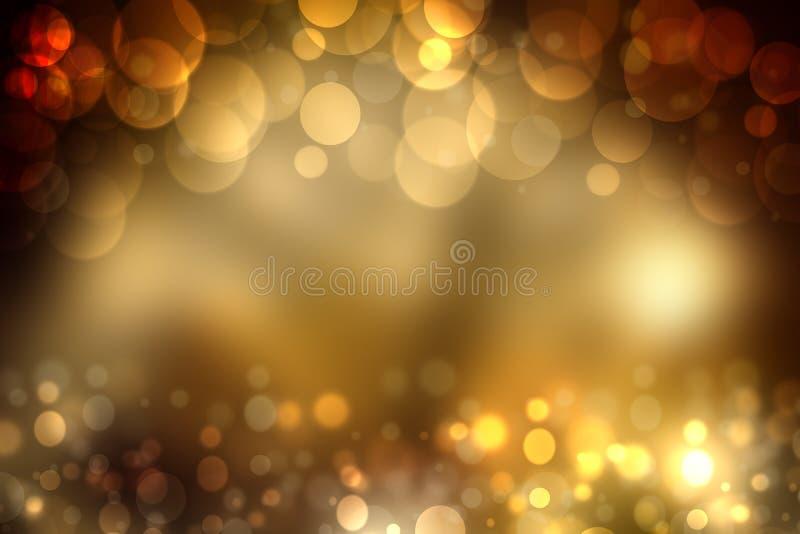 与闪烁闪闪发光bl的抽象金黄欢乐bokeh背景 库存例证