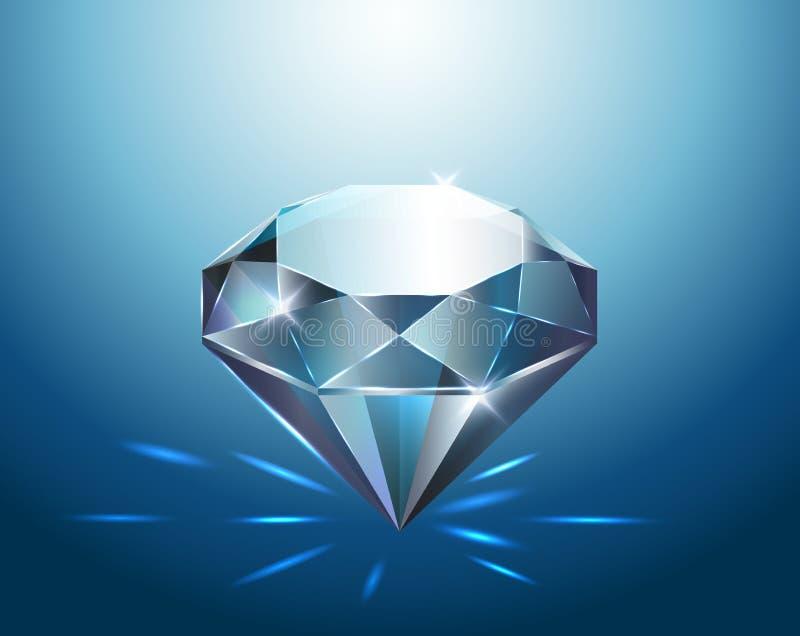 与闪烁,传染媒介例证的大纯净的蓝色金刚石 皇族释放例证